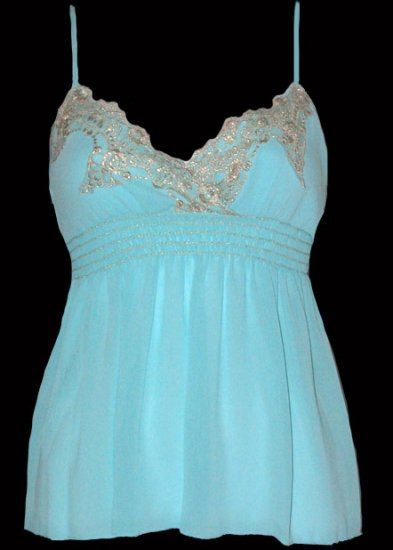 Sexy Goddess Aqua Chiffon Gold Lace Babydoll Top - Medium