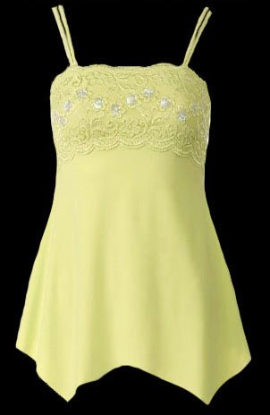Yellow Lace Sequins Beads Camisole Top - Large