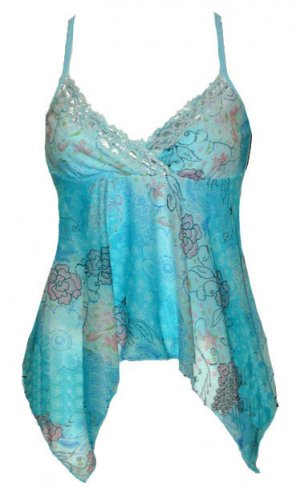 Blue Floral Watercolor Mesh & Lace Babydoll Top - Large