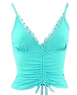 Sexy Aqua Blue Lace Sequins Beads Ruched Camisole Top - Large