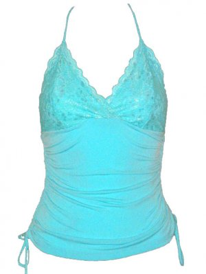 Sexy Luscious Blue Lace Ruched Halter Top - Large