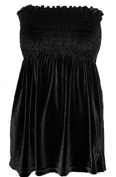 Sexy Self-Esteem Black Velvet Smocked Babydoll Tube Top - Medium