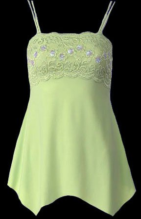 Sage Lace Sequins Beads Camisole Top - Small