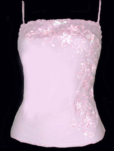 Sexy Dazzling Pink Gauze Glass Bead Floral Camisole Top - Small