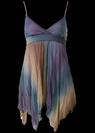 Stunning Sexy Blue Pleated Crinkle Chiffon Cami Top - Large