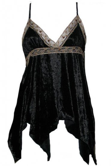 Captivating Vixen Black Crushed Velvet Babydoll Top - Medium