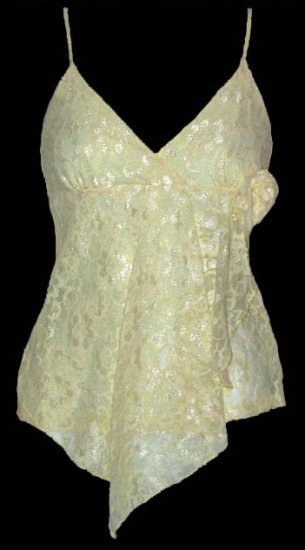 Feminine Sexy Soft Yellow Lace Babydoll Cami Top - Large