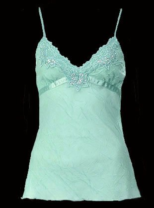 Extreme Sexy Mint Green Lace Time Crinkle Camisole Top - Small