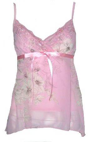 Romantic Dreamy Sexy Pink Floral Chiffon Babydoll Top - Medium