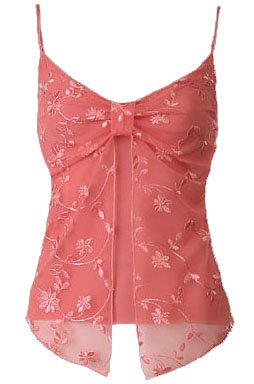 Coral Floral Embroidered Mesh Flyaway Camisole Top - Large