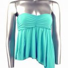 Flirty Sexy Aqua Blue Ruched Strapless Babydoll Top - Small