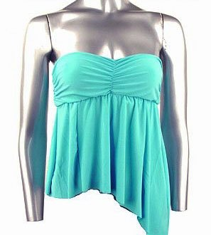 Flirty Sexy Aqua Blue Ruched Strapless Babydoll Top - Medium