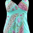 Vibrant Blue Boho Floral Georgette Cami Top - Small