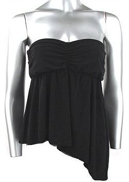 Flirty Sexy Black Ruched Strapless Babydoll Top - Large