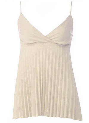 Trendy Sexy Classy Beige Pleated Camisole Babydoll Top - Large