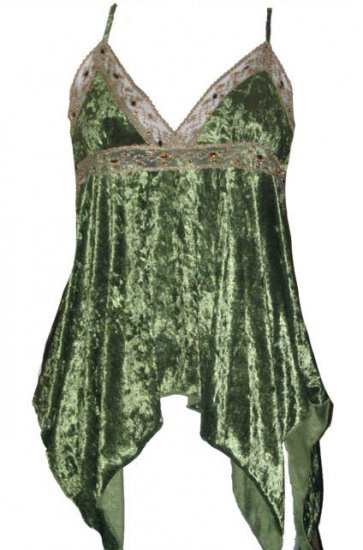 Captivating Vixen Sage Crushed Velvet Babydoll Top - Medium