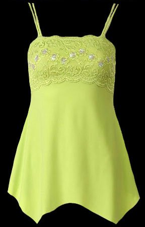 Lime Lace Sequins Beads Camisole Top - Medium