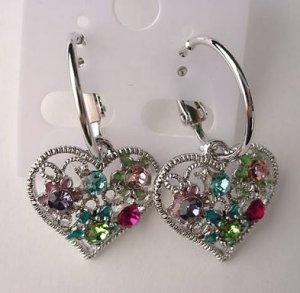 Pretty Multicolor Crystal Heart Hoop Pierced Earrings