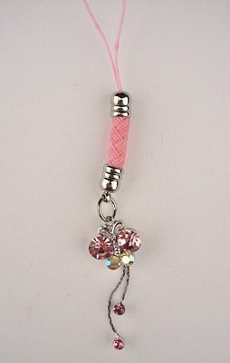Trendy Pink Crystal Butterfly Tassel Cell Phone Charm