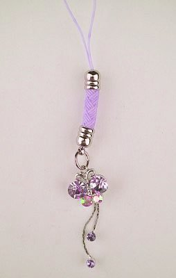 Trendy Lavender Purple Crystal Butterfly Tassel Cell Phone Charm