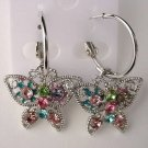 Pretty Multicolor Crystal Butterfly Hoop Pierced Earrings