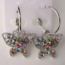 Pretty Multicolor Crystal Butterfly Hoop Pierced Earrings