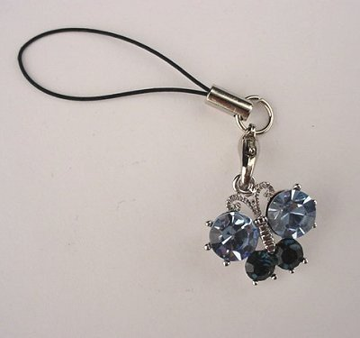 Trendy Blue Crystal Butterfly Cell Phone Charm