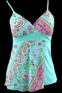 Vibrant Blue Boho Floral Georgette Cami Top - Medium