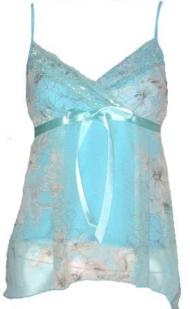 Romantic Dreamy Sexy Blue Floral Chiffon Babydoll Top - Medium