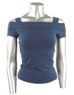 Classy & Sexy Teal Shoulder Baring Stretch Knit Top - Medium
