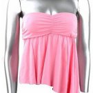 Flirty Sexy Pink Ruched Strapless Babydoll Top - Medium