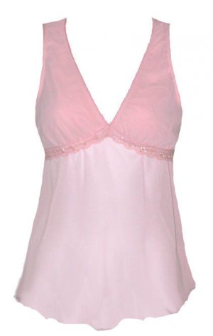 Sexy Pink Lace Sequins Beads Chiffon Tease Top - Medium