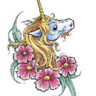 Unicorn Floral Large Temporary Tattoo