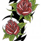 Double Rose Tribal Temporary Tattoo