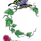 Butterfly, Vine, and Rose Temporary Tattoo