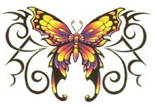 Colorful Butterfly Tribal Temporary Tattoo
