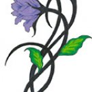 Purple Flower Tribal Temporary Tattoo