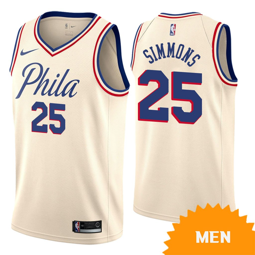 0a7dcb67de9 Men s Philadelphia 76ers Ben Simmons City Edition Jersey - Cream