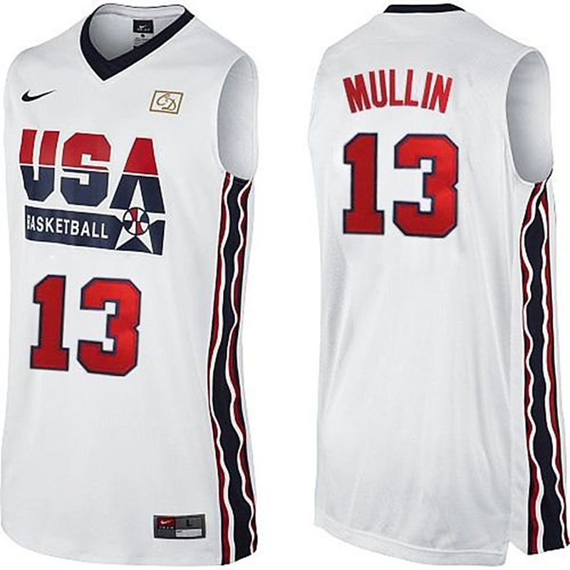 6786dbfb9571 Men s Chris Mullin 1992 Dream Team USA  13 White Jersey