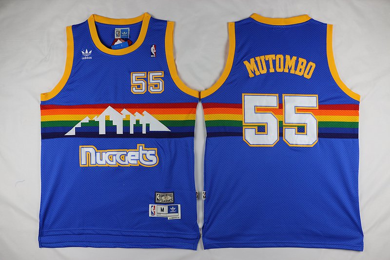 d63df06376a Mens Dikembe Mutombo Denver Nuggets 55 throwback jersey blue