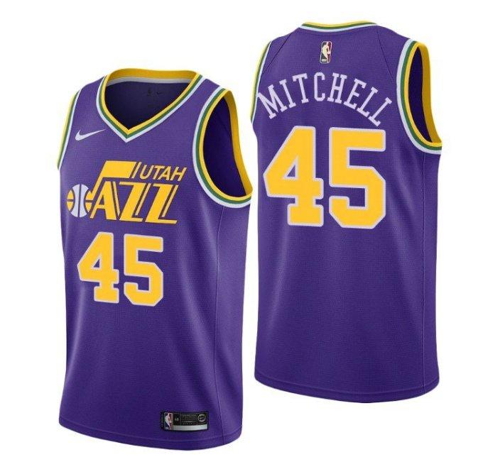 best loved 78141 be95a Men's Donovan Mitchell #45 Utah Jazz throwback purple Jersey
