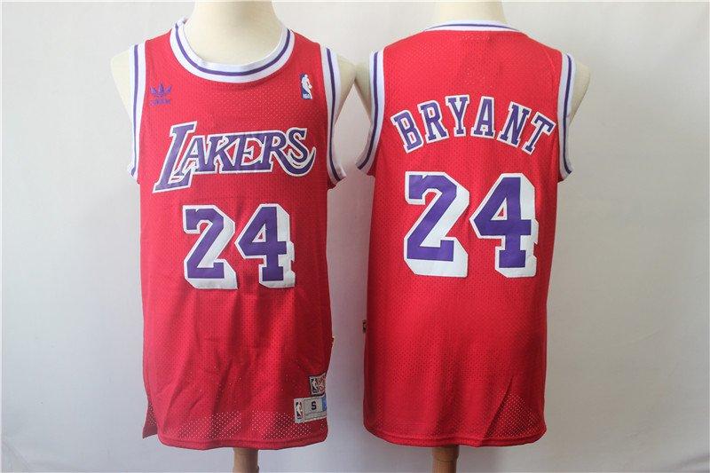 Men s Los Angeles Lakers  24 Kobe Bryant retro Jersey red bd8dfadca