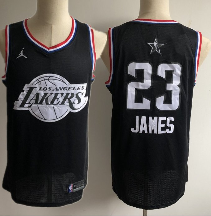 Men s Lakers 23 Lebron James 2019 all star jersey black c367cd31a
