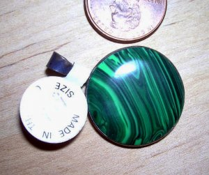 Round Malachite disk pendant