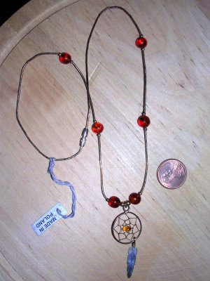 Sterling and Amber Dreamcatcher Necklace