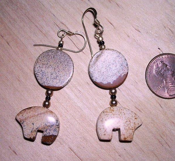 Handmade Picture Jasper Zuni Bear Earrings