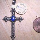 Gothic or Baroque Sterling Cross with Lapis