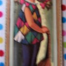 60s Harlequin Girl Mandolin Big Eye Sad Art Litho by Eden