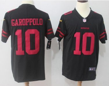 the latest e3c55 6132c Men's 49ers #10 Jimmy Garoppolo color rush Limited jersey black