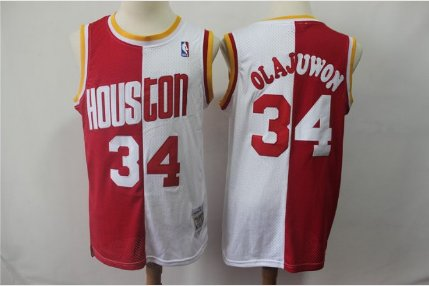 best service e5bfd 22c96 2019 Rockets 34# Hakeem Olajuwon Basketball Jersey White-Red Throwback